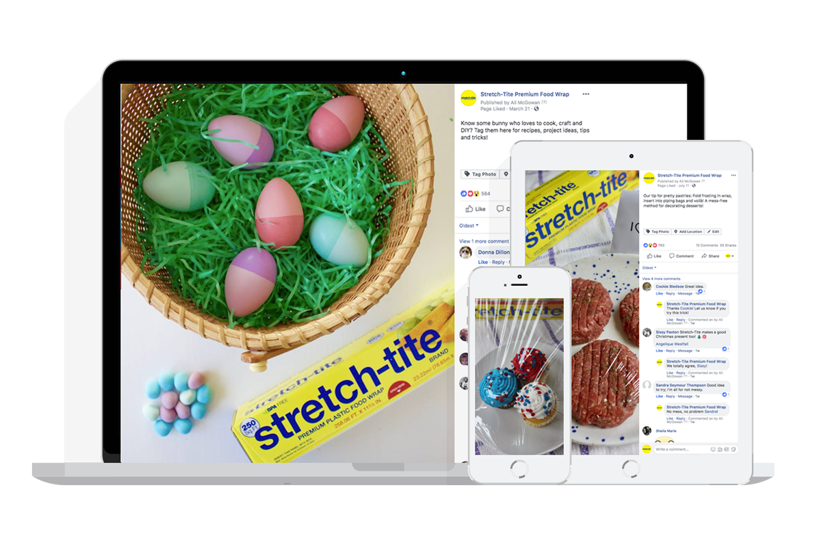 desktop and mobile views of facebook and pinterest posts for stretch tite plastic wrap