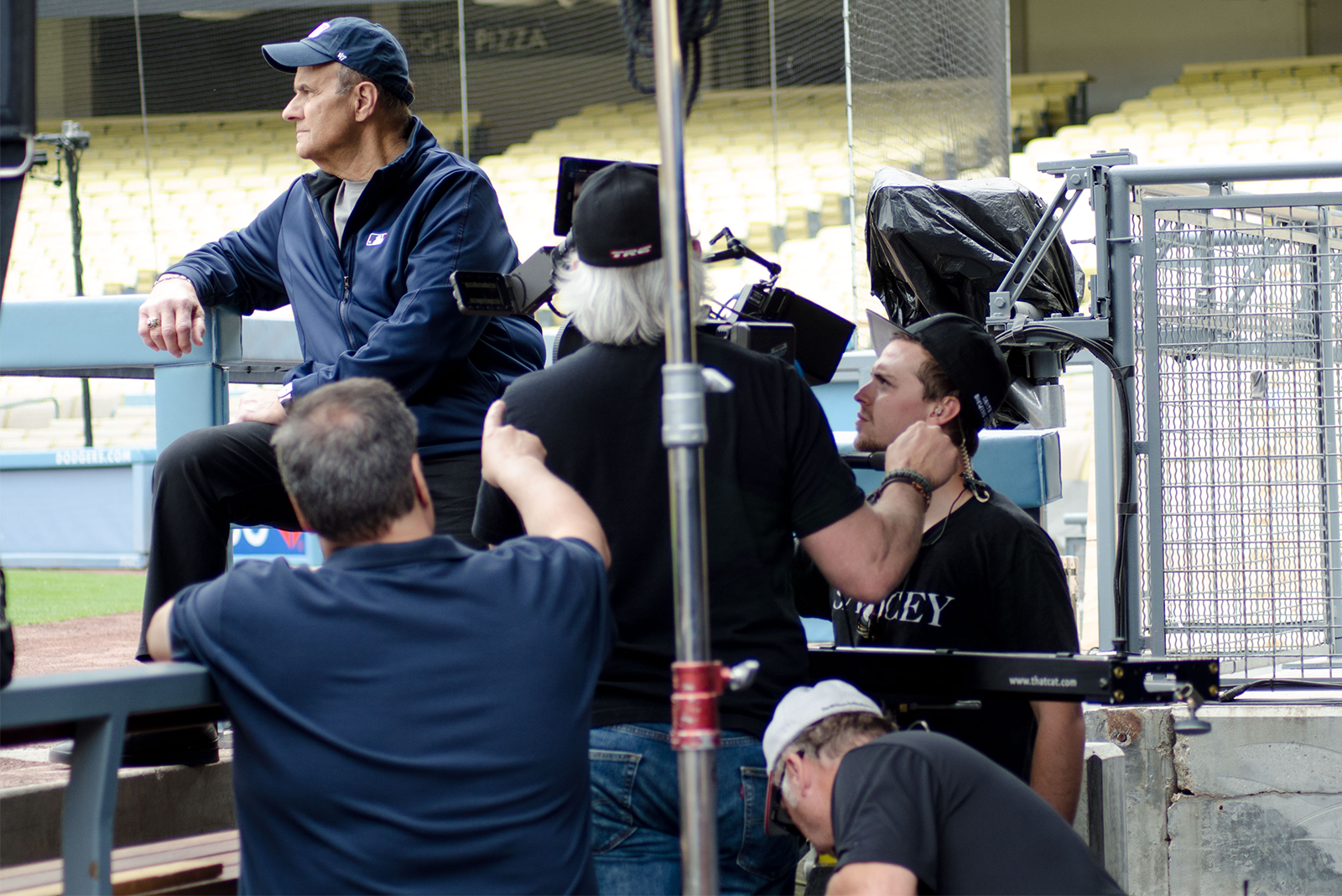 behind-the-scenes photo of (add)ventures' video team on set during Joe Torre Prostate Cancer Foundation PSA