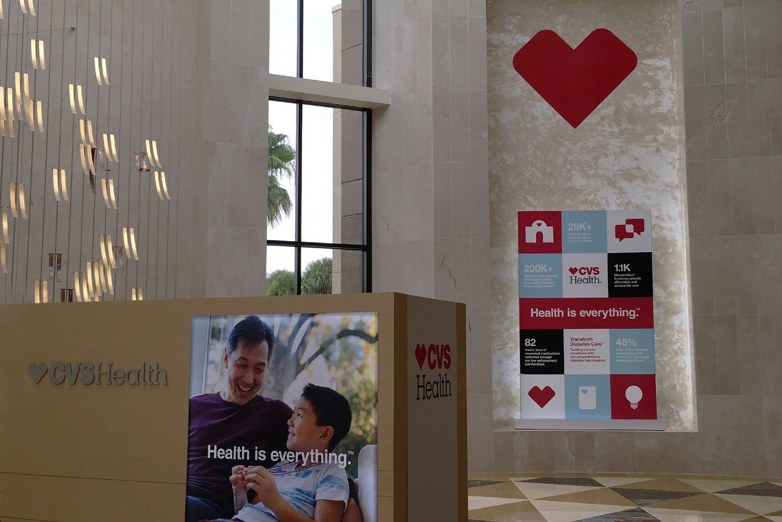 interactive kiosks and large banners of CVS Health infographics at retail leadership conference