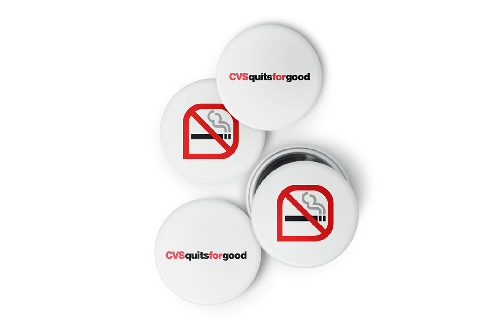 buttons with CVS quits for good slogan and anti-tobacco logos