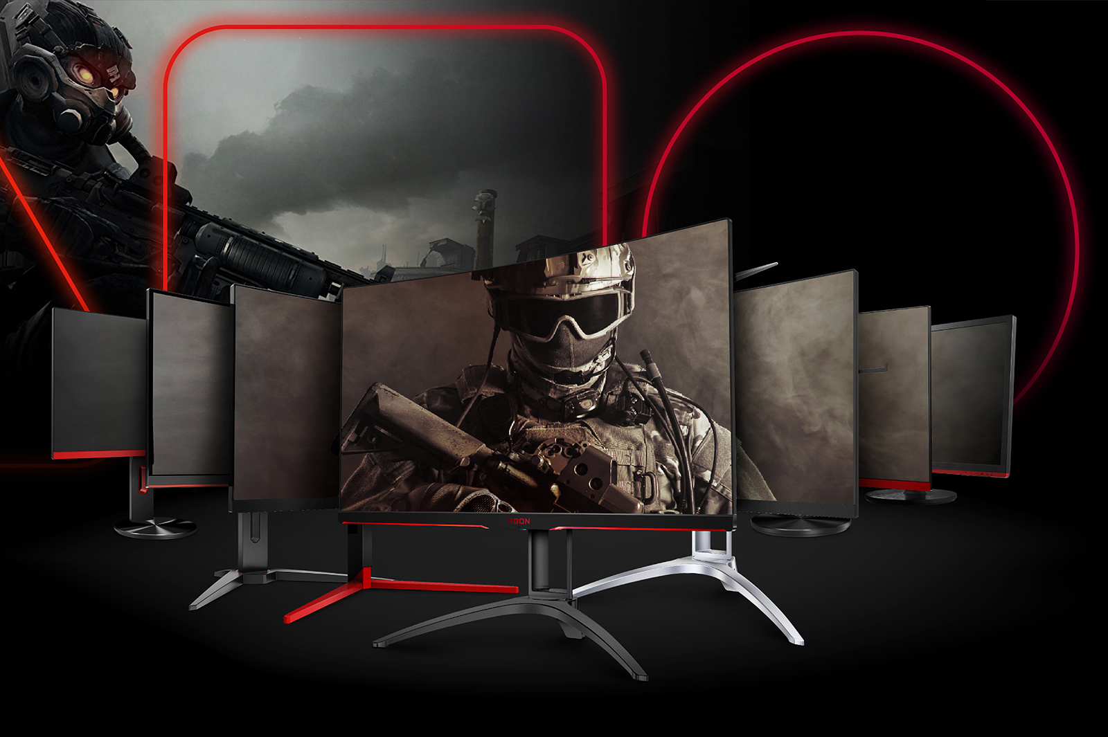 Graphic of seven different AOC monitors with video game graphics and scenery on screen and in background.