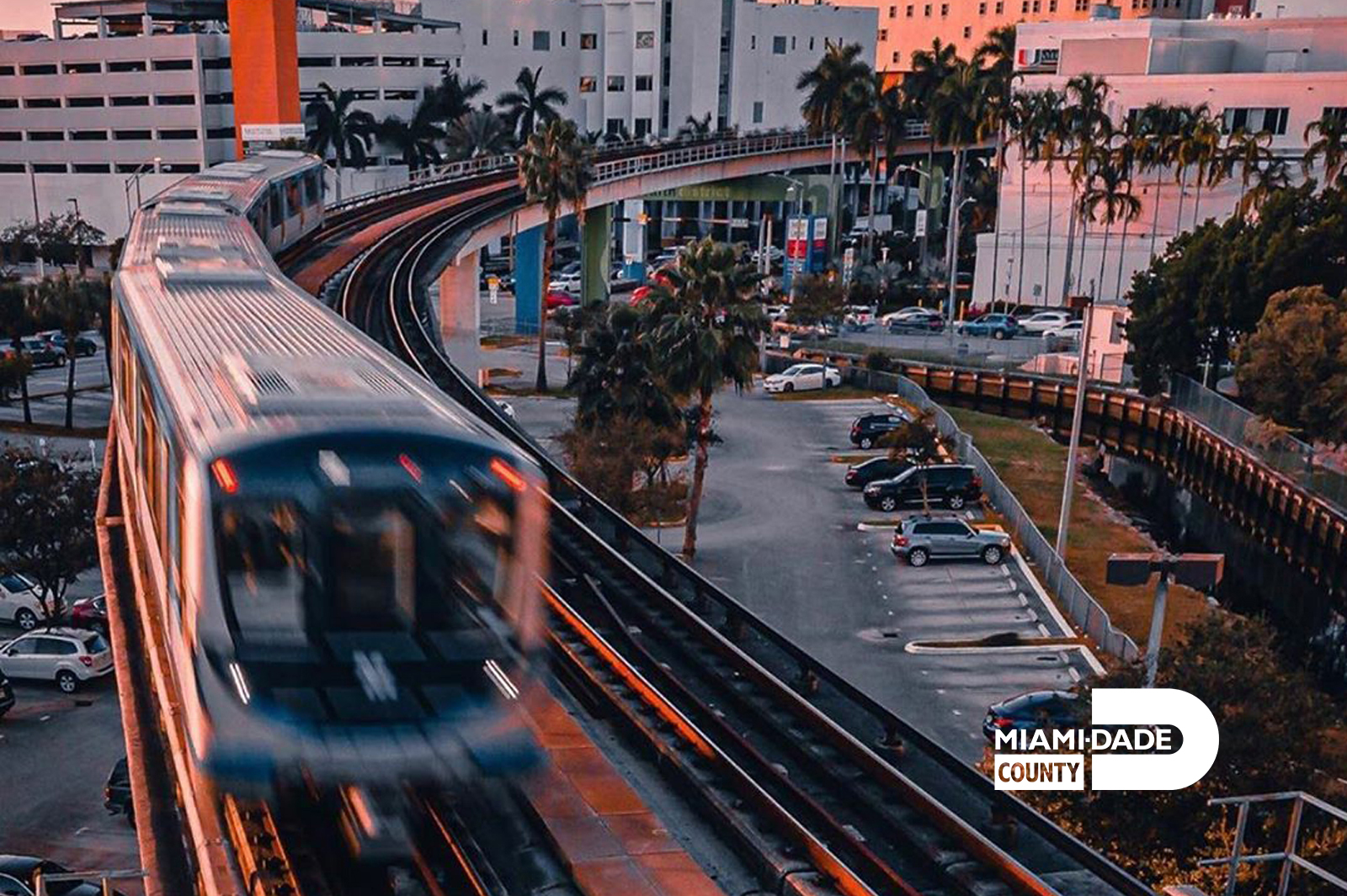 Miami-Dade still of public transport tram.