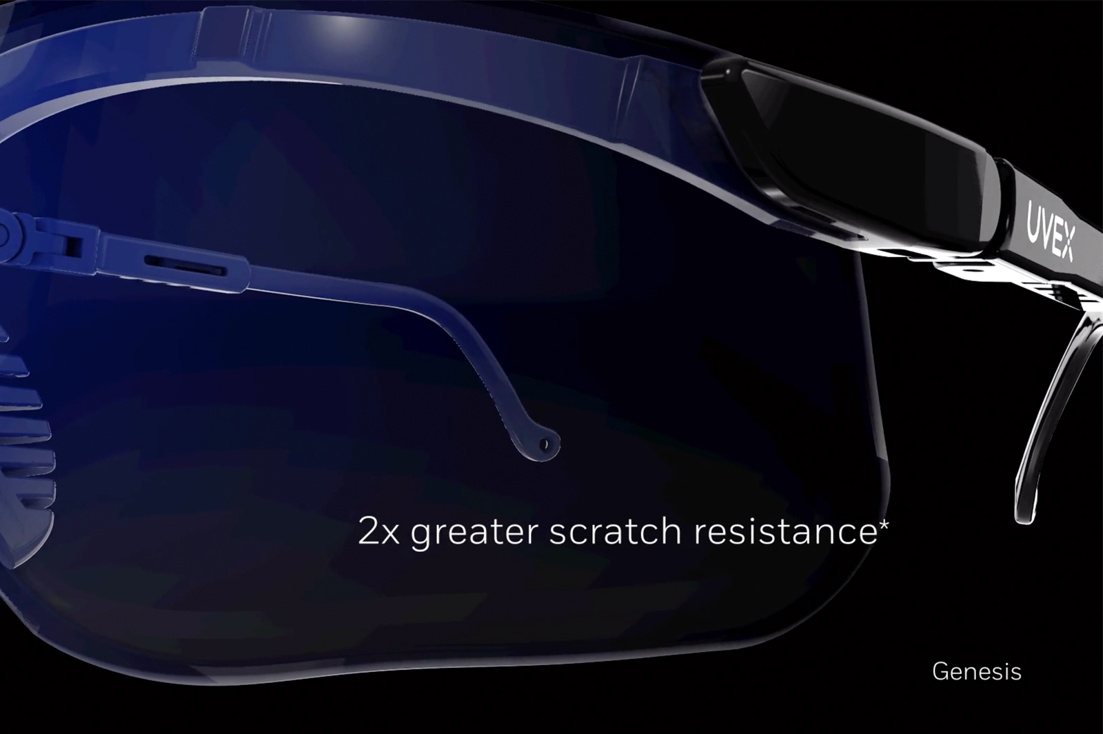 Close up of lenses with 2x greater scratch resistance. UVEX - Genesis